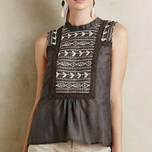 Anthropologie Tiny Embroidered Peasant Top Grey M